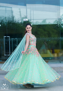Pragya Jaiswal Looks stunning in Beautiful Green lehenga and Crop Choli Top
