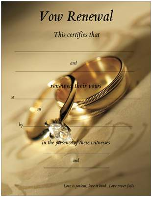 Promised Hearts Inc ~ ~: Vow Renewal Certificates