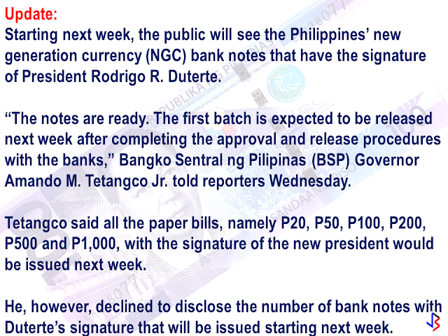 "The new P100 bill will be out very soon according to Bangko Sentral ng Pilipinas.  The new  one hundred peso bill will bear the signature of President Rodrigo Duterte. According to Deputy Director of BSP, Grace Malic, they are anticipating high public interest on the upcoming new bank note. ""They do not need to rush because sooner or later there will be more bills that has President Duterte's signature that they can acquire, "" she said. Meanwhile, the BSP is calling on the OFWs to  register their old bank notes , if ever they are keeping any of it. The Old notes will be demonetized after Dec 1, 2016. To register your bank notes that needed to be replaced , you can go to https://orbs.bsp.gov.ph/ORBS/."