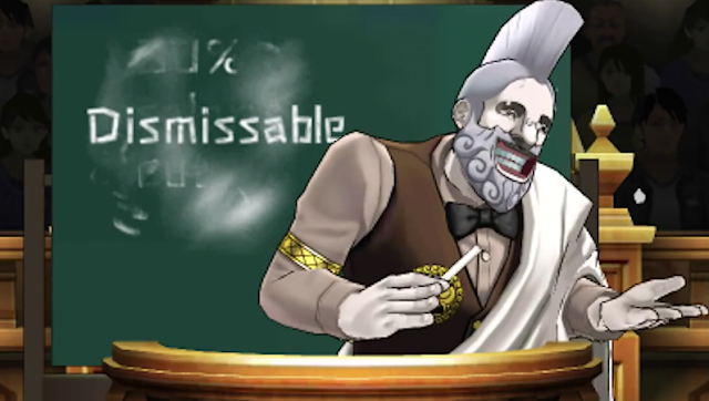 Dismissable dismissal dismissed Professor Aristotle Means Phoenix Wright Ace Attorney Dual Destinies chalkboard