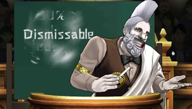 Dismissable dismissal dismissed Professor Aristotle Means Phoenix Wright Ace Attorney Dual Destinies chalkboard