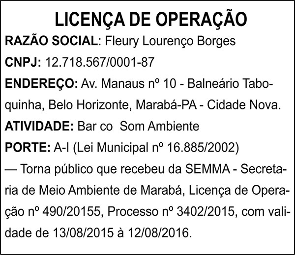 LICENÇA DE OPERAÇÃO - FLEURY LOURENÇO BORGES