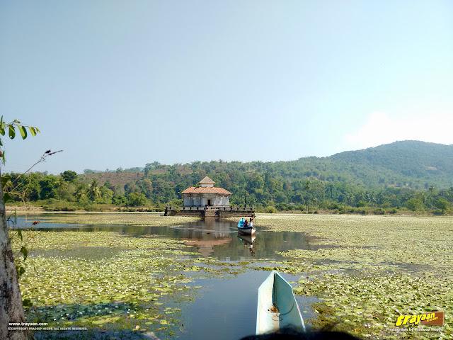 A view of Parshwanatha Basadi, the Lake Temple of Varanga, in Karkala taluk, Udupi district
