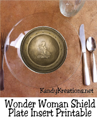 Throw a fun Wonder Woman party with these printable plate inserts.  These inserts fit under a glass plate from Walmart and make a fun way to dress up your dinner party.