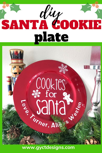 Make your own easy DIY Santa Cookie Plate for setting out cookies Christmas Eve for Santa Claus.  Makes a fun and quick holiday tradition.