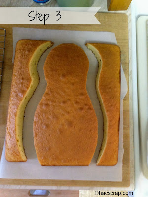 Cutting Out a Bowling Pin Shape from Cake