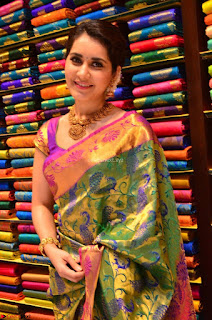 Raashi Khanna in colorful Saree looks stunning at inauguration of South India Shopping Mall at Madinaguda ~ Exclusive Celebrities Galleries 015
