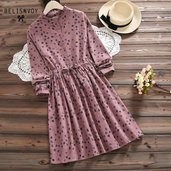 Women Elbise Casual Loose Long Sleeve Leaves Printed Drawstring Waist Dresses