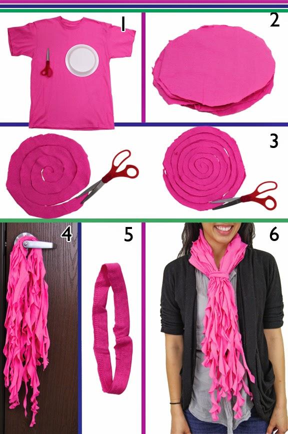 cómo hacer un original foulard con tiras rizadas de camisetas recicladas
