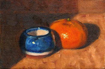 Oil painting of a glazed blue terracotta vase alongside a mandarine.