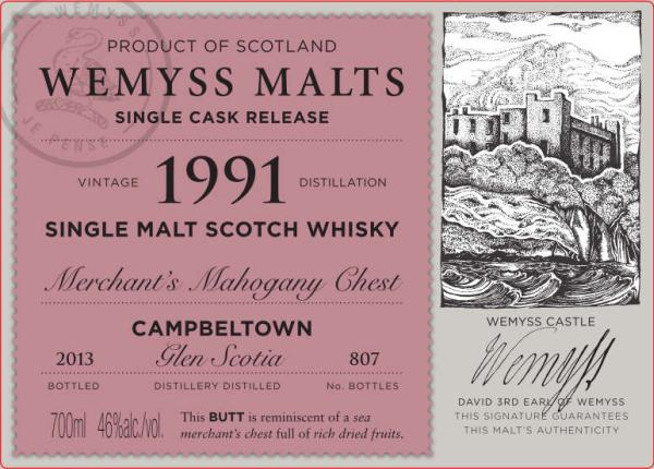Wemyss Malts Merchant's Mahogany Chest 1991 Glen Scotia