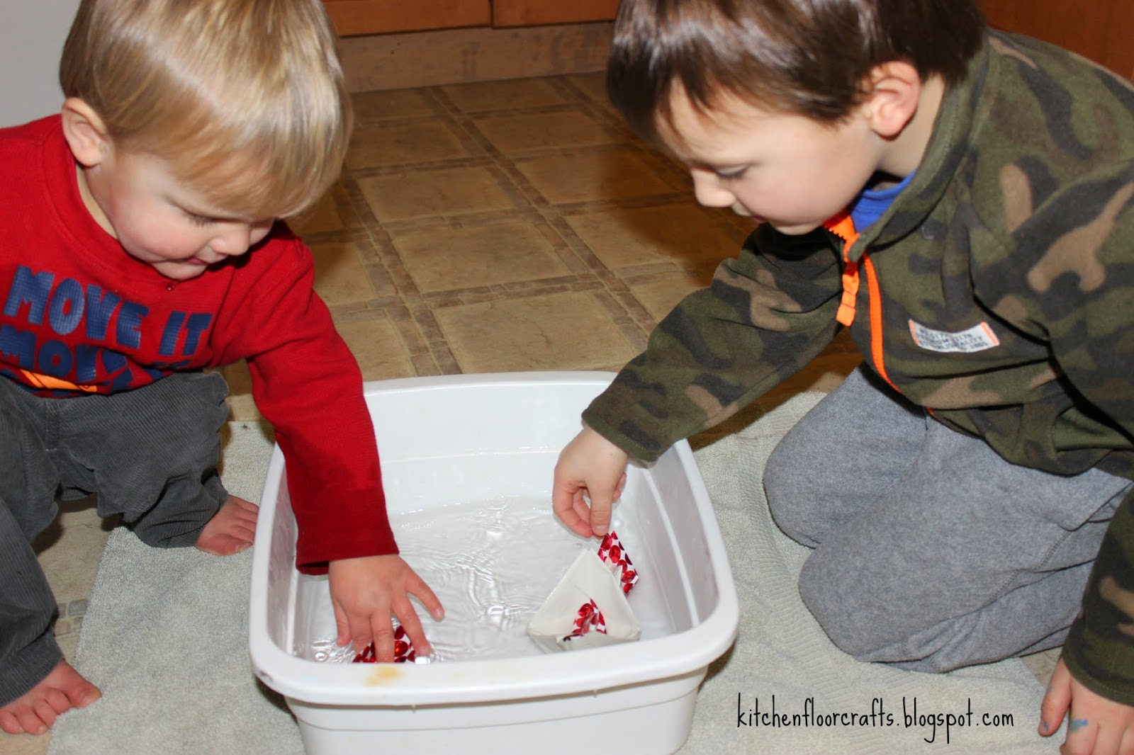 Kitchen Floor Crafts Simple Play Paper Boats In Water