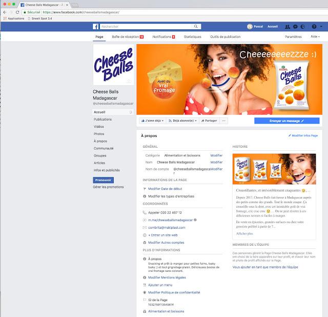 "digital marketing : page ""à propos de "" Facebook Cheese Balls Madagascar"