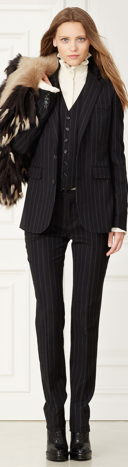 RALPH LAUREN YVETTE PINSTRIPED WOOL JACKET