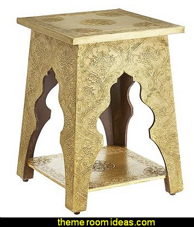 Marrakesh Brass Hand-Embossed Accent Table
