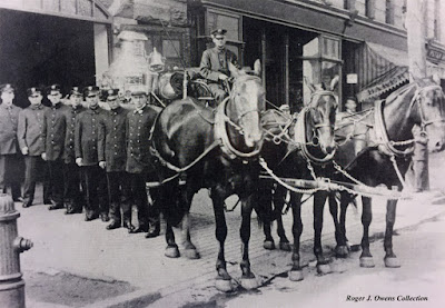 Historic photo of Engine Company 38 horse team, pumper and crew