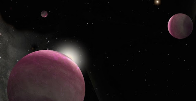 Artist's conception of the binary system with three giant planets discovered in this study. One star hosts two planets and the other hosts the third. The system represents the smallest-separation binary in which both stars host planets that has ever been observed. Image is courtesy of Robin Dienel.