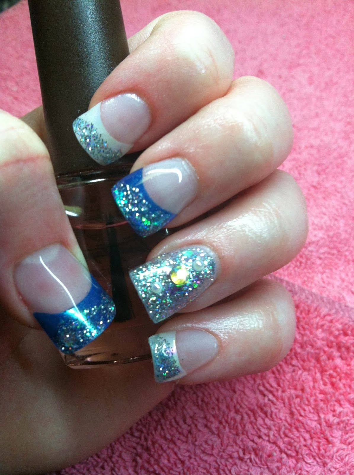 "Acrylic Nails With Flowers: Southern Silhouette: NOTD: Metallic AB ""Rainbow"" Tips"