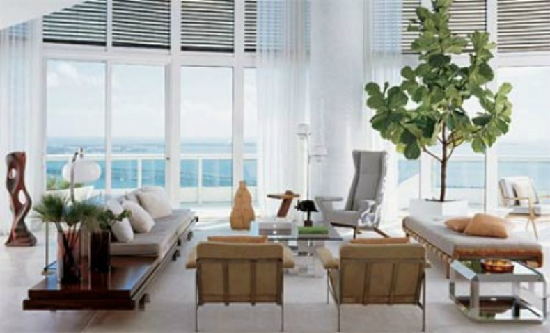 Coastal home 10 ways to to bring the outdoors in Large living room plants