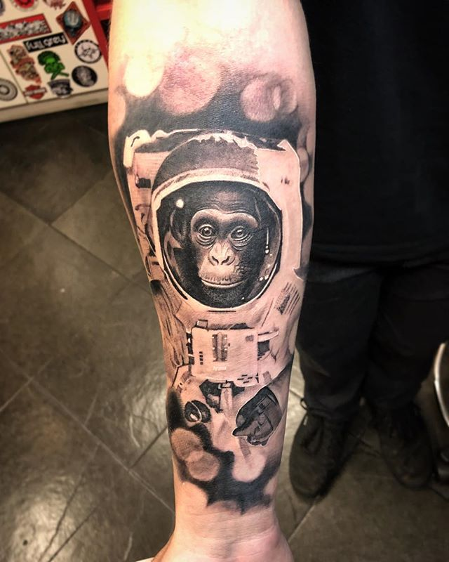 Monkey Astronaut Tattoo