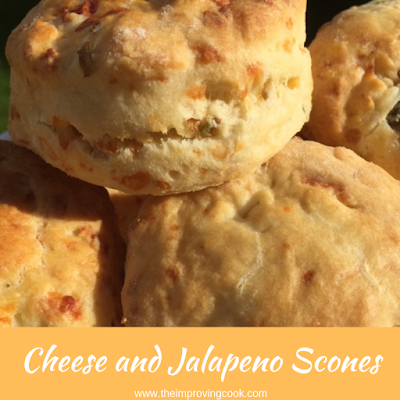 Close up of four cheese and jalapeno scones