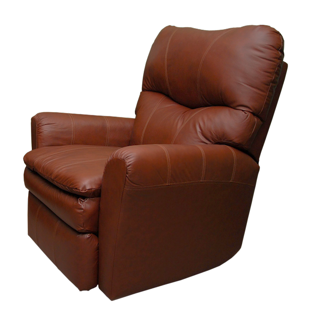 A medium toned leather man's style rocking recliner in brown.