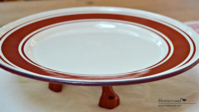 Red and white repurposed nautical enamelware pedestal dish