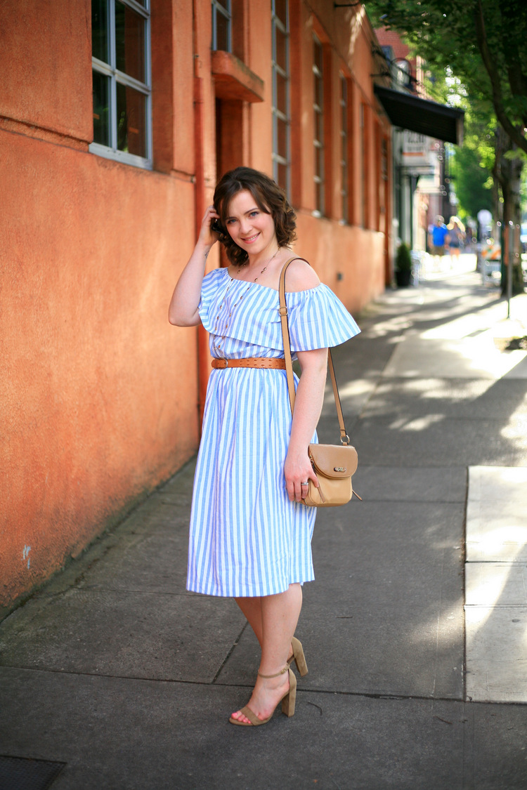 9b5b5592cb3d Off-the-shoulder blue and white stripe dress from Sundressing - and ...