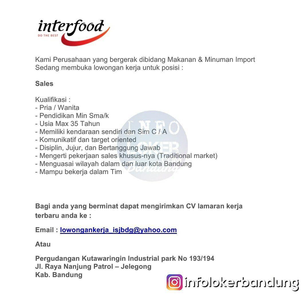 Lowongan Kerja PT. Interfood Bandung Oktober 2018