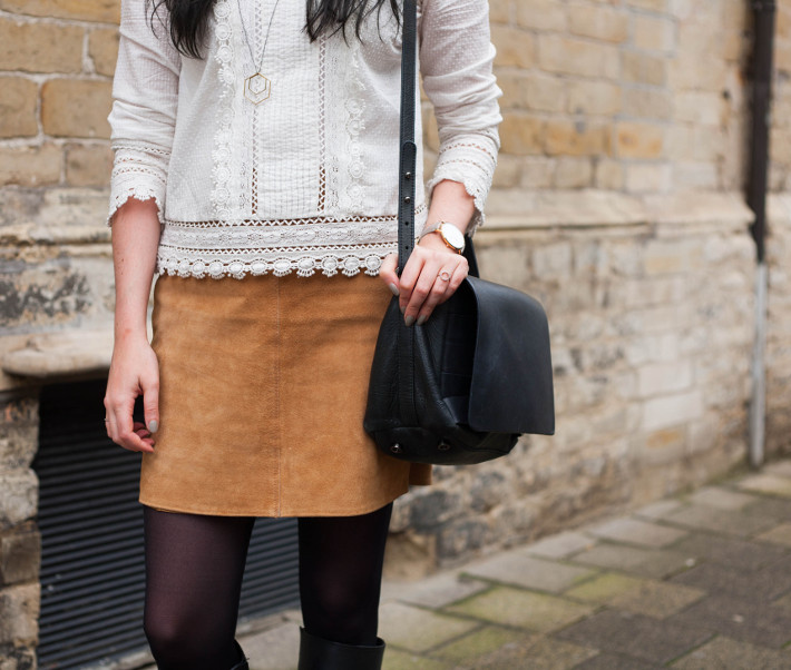 Outfit: Edwardian blouse, suede skirt, knee boots