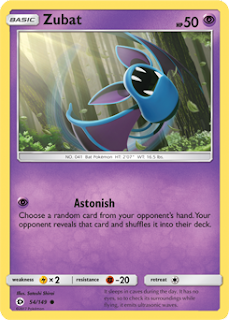 Zubat Sun and Moon Pokemon Card