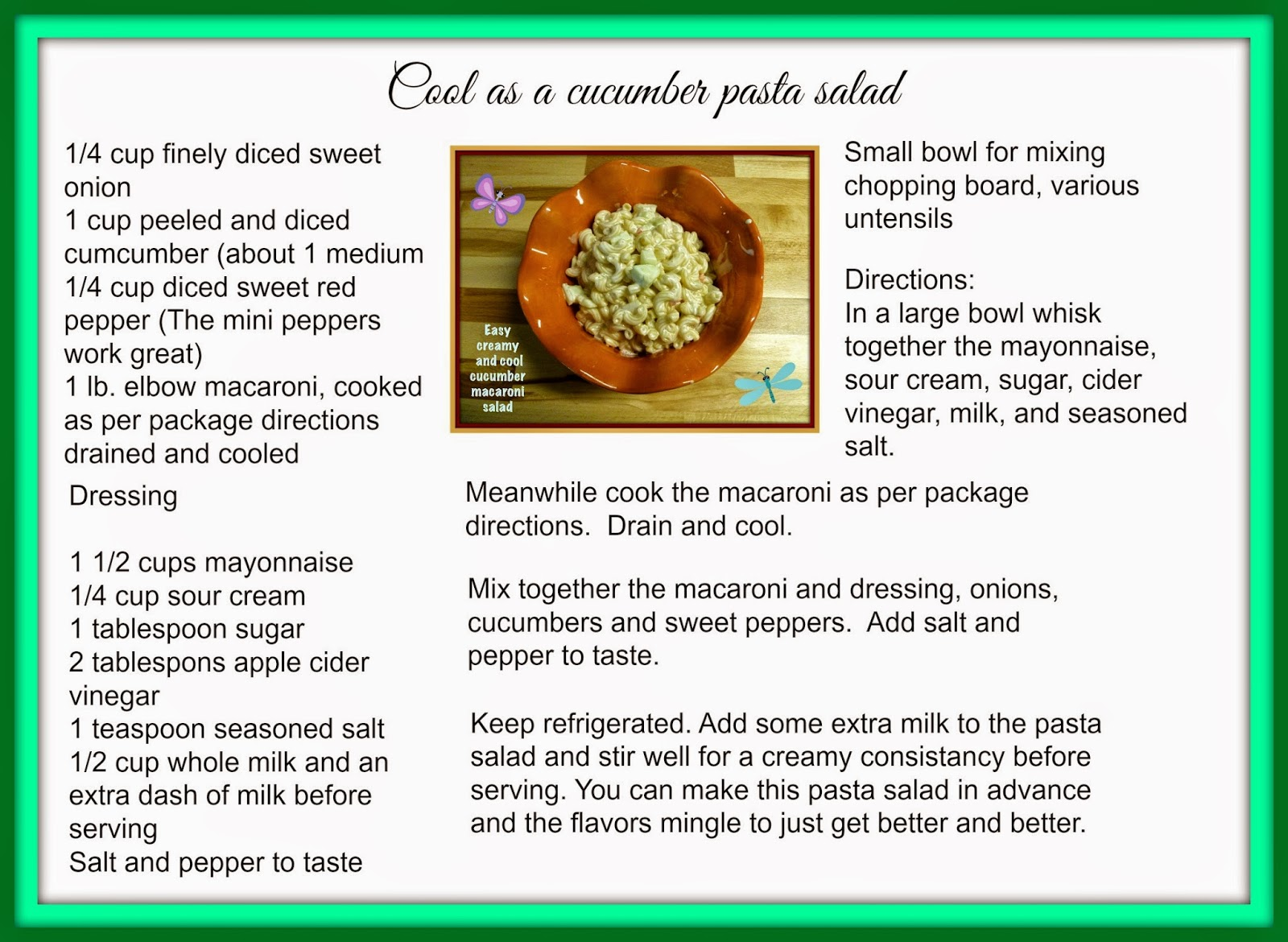 Pasta salad recipe card