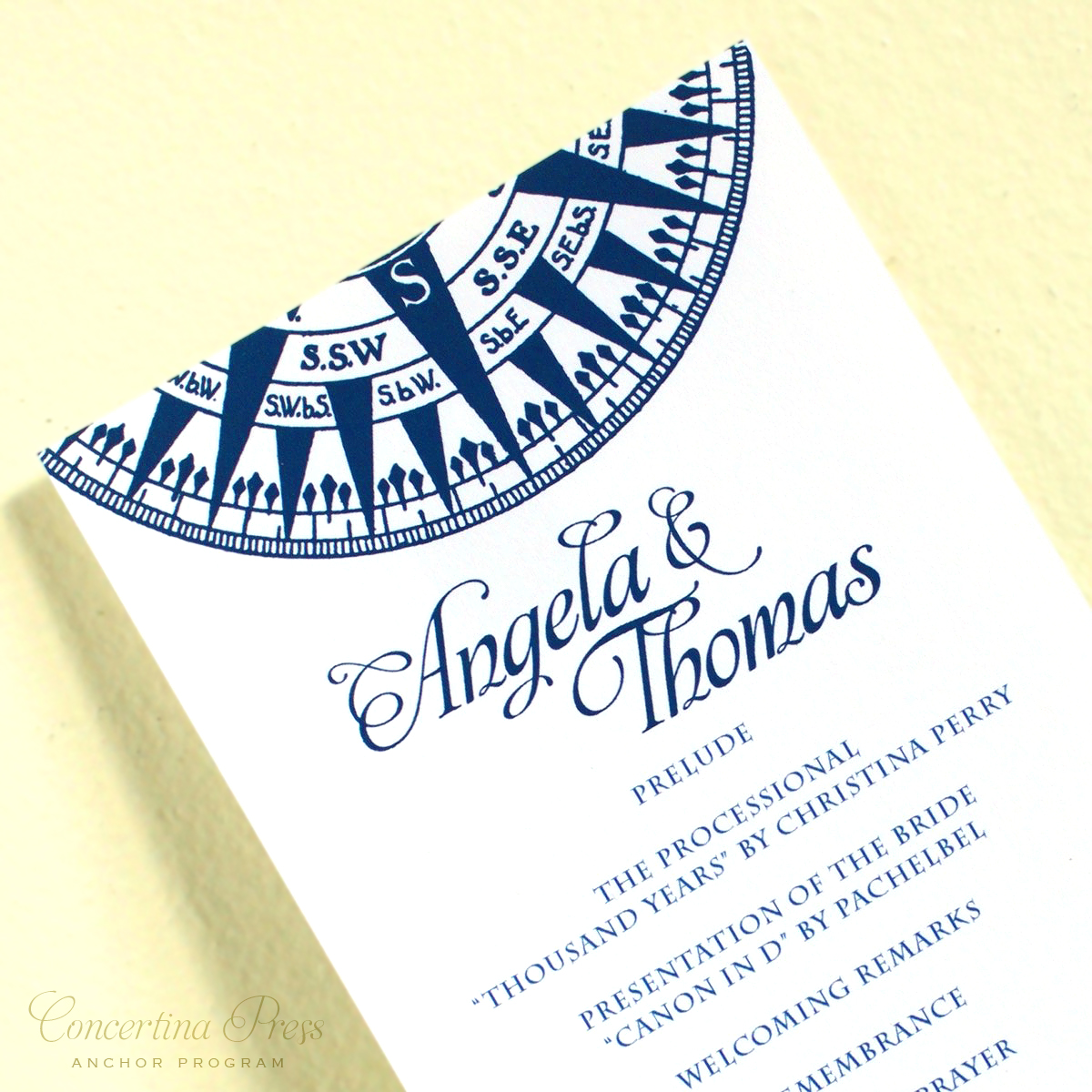 Nautical Compass Wedding Programs from Concertina Press