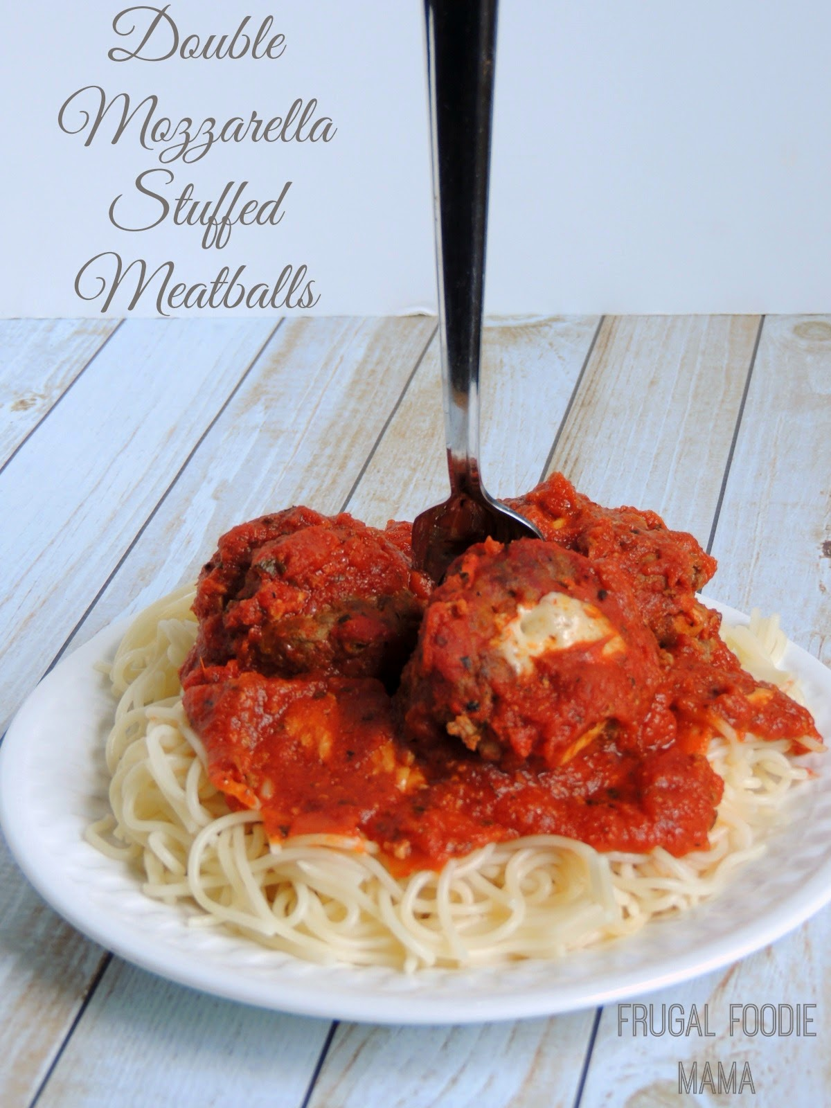 These tender & flavorful Double Mozzarella Stuffed Meatballs simmer away in your slow cooker all day.