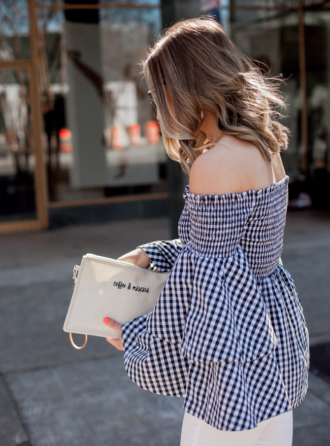 nordstrom bp. gingham ruffle sleeve off the shoulder top