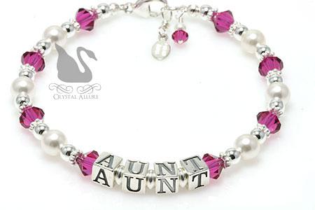Crystal Pearl Aunt Beaded Bracelet (B186)