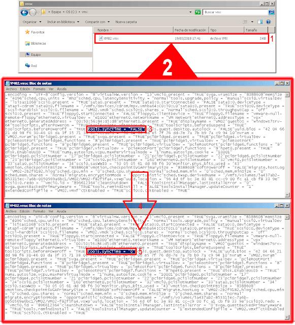 Editaremos el archivo *.VMX y buscaremos la opción llamada tools.syncTime, cambiaremos su valor por defecto por el numero 0.