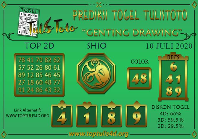 Prediksi Togel GENTING DRAWING TULISTOTO 10 JULI 2020