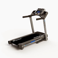 "Nautilus T614 Treadmill, with 20"" wide by 55"" long running deck with StrikeZone Cushioning, 2.5"" crowned rollers, 2.75 chp motor, 0-12 mph speeds, 0-12% incline, 22 programs"