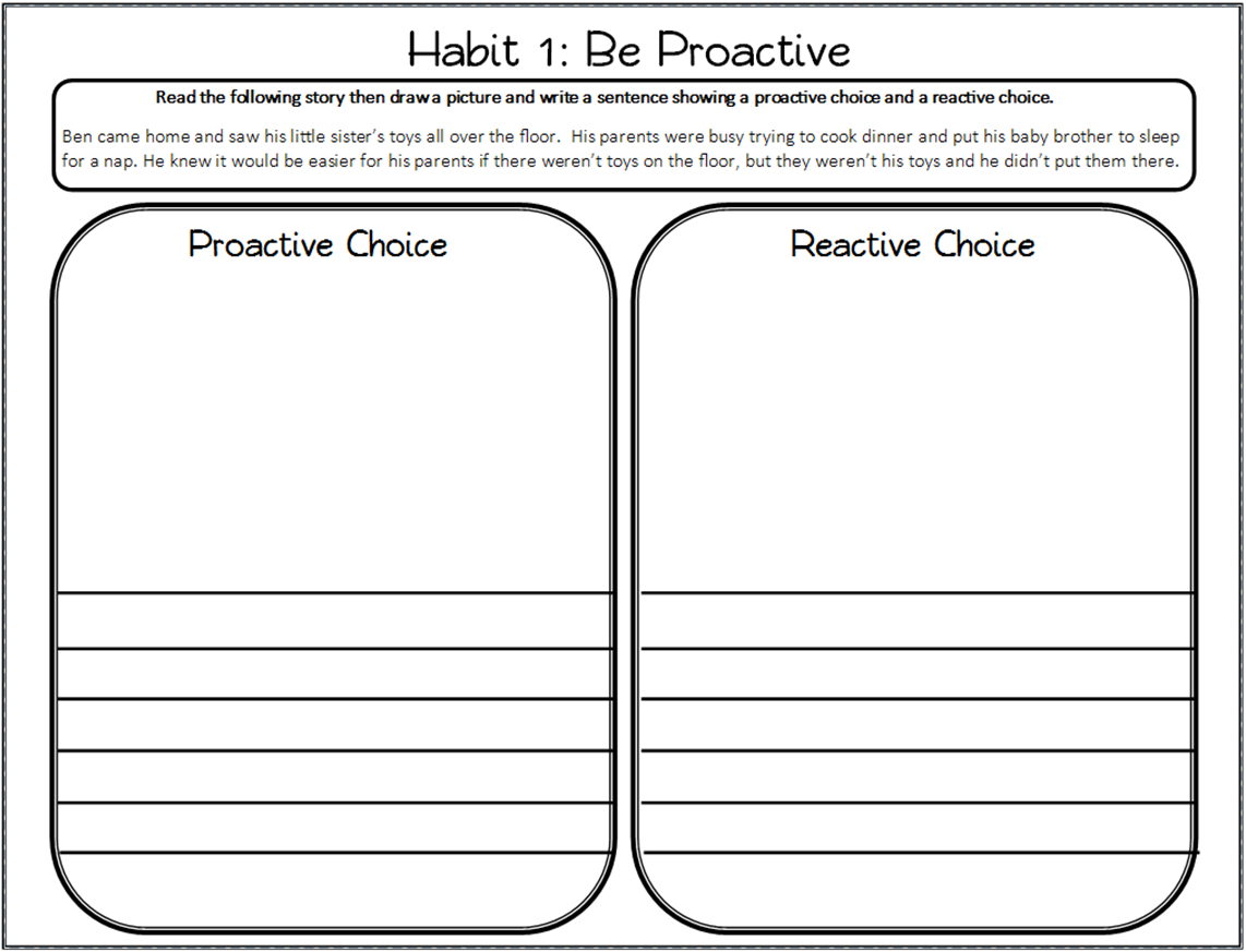 Be Proactive Worksheet