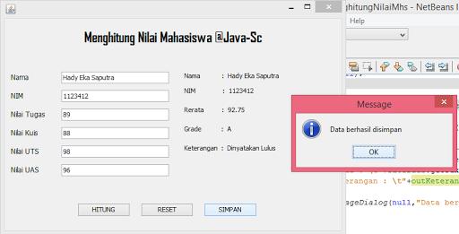 Gambar-16 : Program Menghitung Nilai Mahasiswa Dengan Java GUI