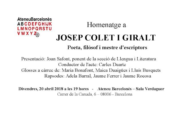 Esguard de Dona - Homenatge a Josep Colet iGiralt - Ateneu Barcelonès - 20 04 18
