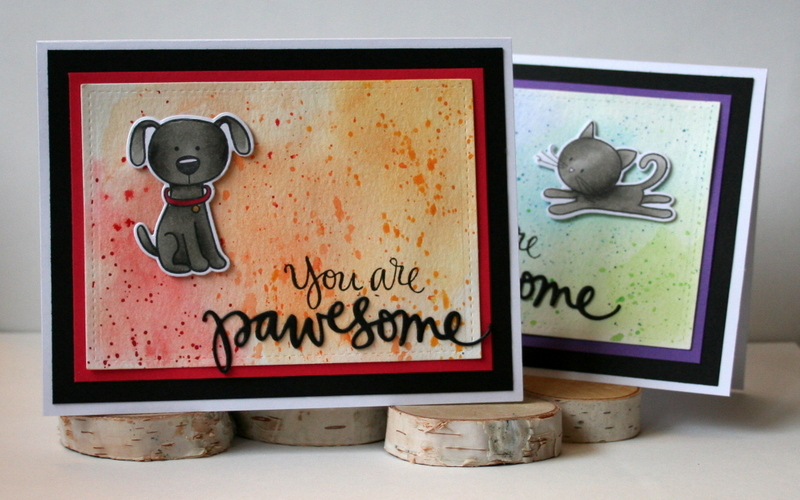 Artsy Watercolor Background Pawesome Cards by Jess Moyer featuring Simon Says Stamp
