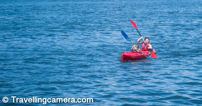 The lady in above photograph was busy in kayaking with her little girl and both of them were in sync most of the times. It seemed that she was also training the kid and in few minutes the little one was ready to contribute.