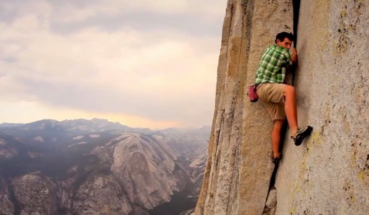 Free Rope Climbing Half Dome In Yosemite Usa Snow