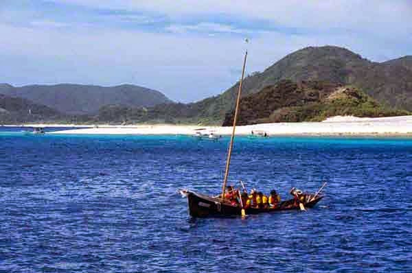 sabani boat with sail down