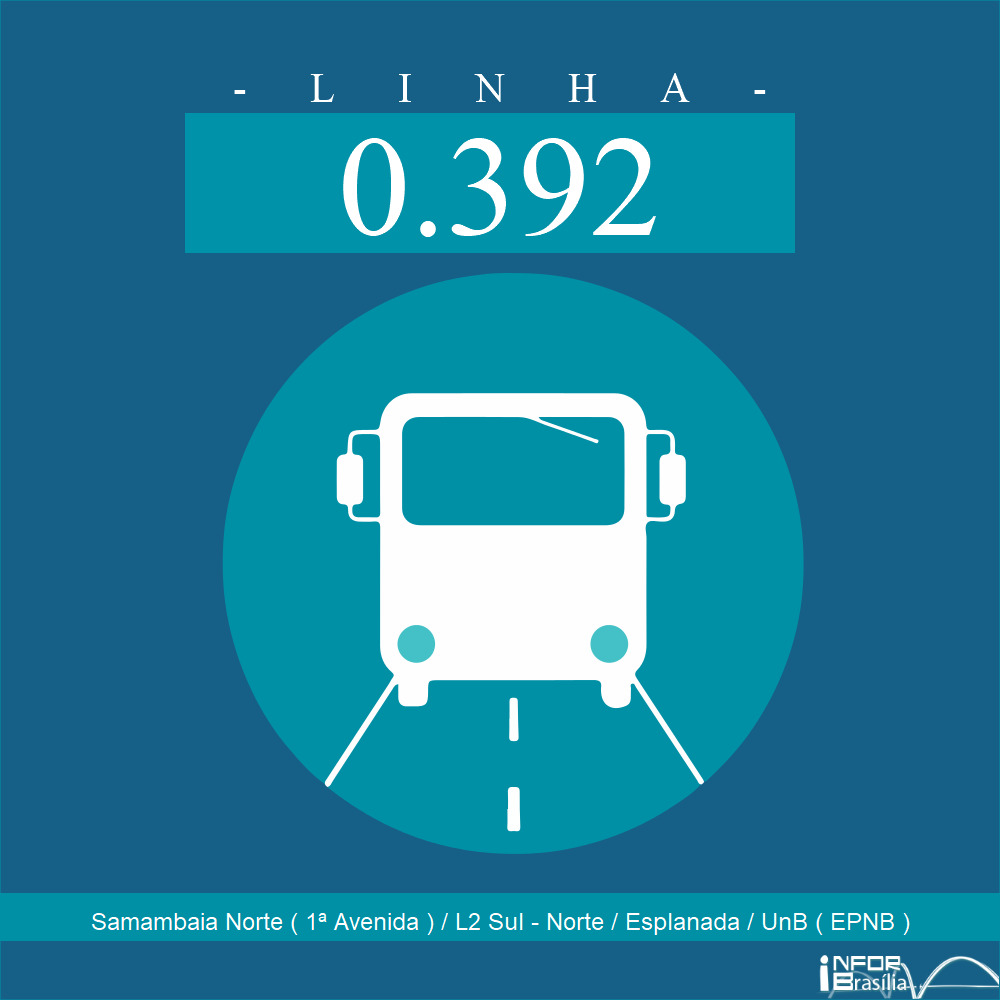 Horário e Itinerário 0.392 - Samambaia Norte (1ªAvenida)/L2 Sul-Norte / Esplanada/ UNB (EPNB)