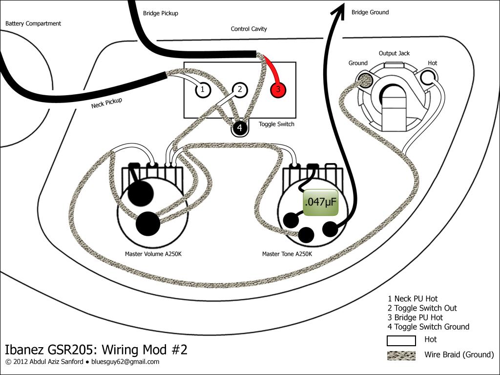 CA Gear Blog: Ibanez GSR205 Wiring Mod #2