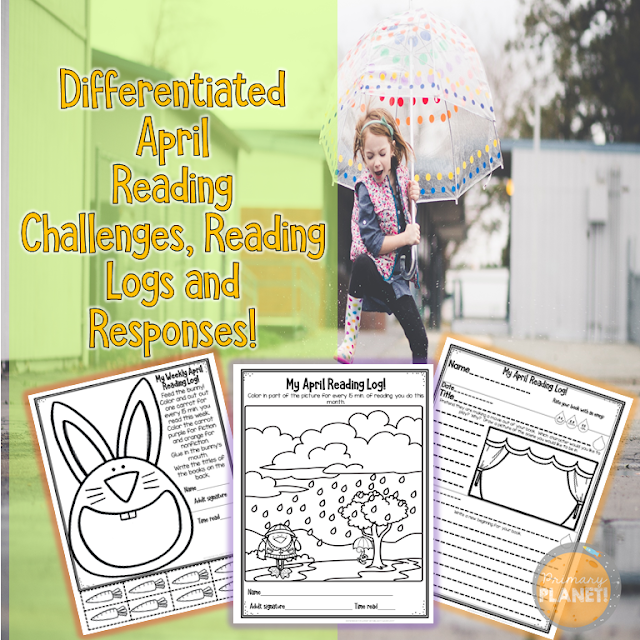 Differentiated April Reading Challenges, Reading Logs, and Reading Responses!