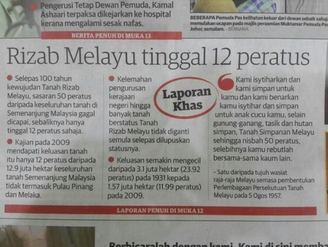 Tanah Rizab Melayu Dirembat Dengan Rakusnya Dan Kini Hanya Tinggal Sedikit. Kerja Siapa?